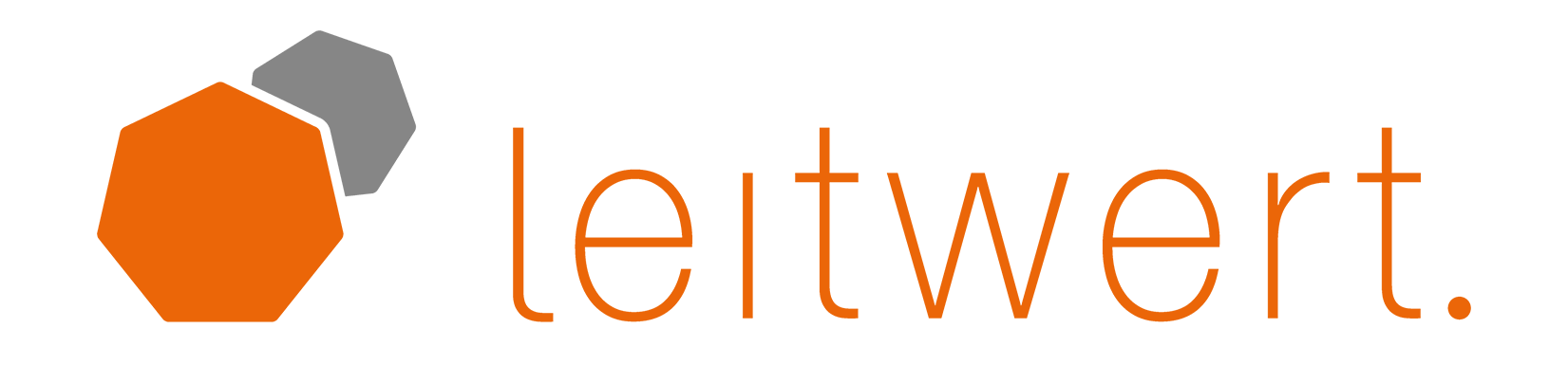 Leitwert logo in the corporate colors orange and grey