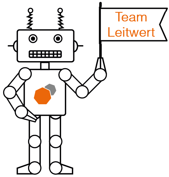 robot mascot cheering on the Leitwert team