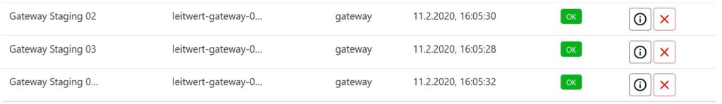 screenshot of the digital twins of Leitwert gateways on the Device Hub