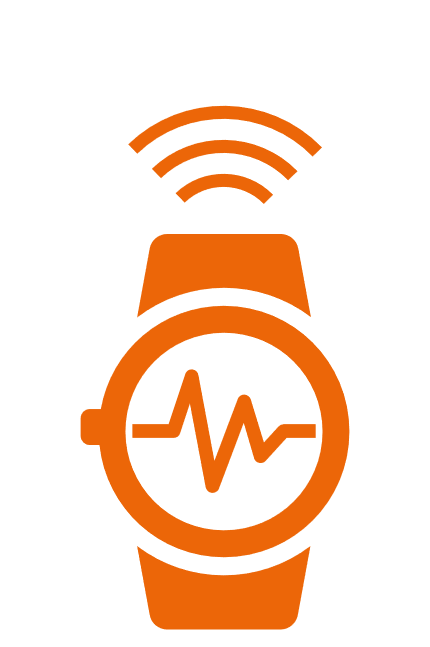 orange symbol of a connected wearable smart watch measuring health data