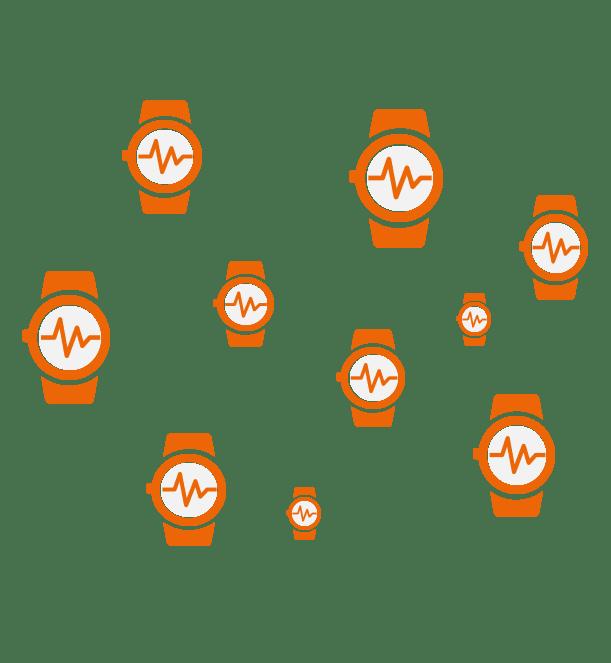 device fleet of orange wearable smart watches